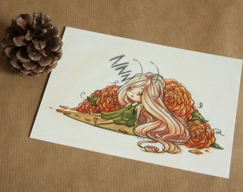 Teasel Asleep - A6 size print of original cute fantasy pencil crayon and marker illustration - postcard size