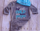 Newborn Baby Gown: Grey Infant Boy Gown, For This CHILD We Have Prayed, New Baby Shower Gift, Personalized Cotton Beanie Hat