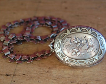 Victorian sterling silver locket with book chain ∙ Victorian aesthetic movement locket