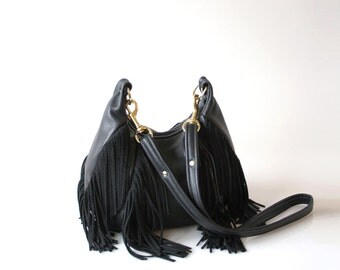 Fringe Leather Bag - OPELLE Nautilus Bag - Soft Pebbled Leather w Fringe in Black