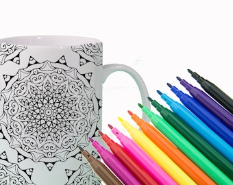CREATIVITY Mandala Mug DIY Color Your Own Mandala Positive Affirmation Mug - Fun Gift for Sister, Gift for Friend Gift for Coworker
