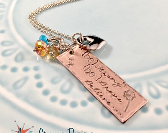 Inspirational Jewelry Personalized - Hand Stamped Necklace - Strong Brave Believe - Long Boho Necklace - Rustic Jewelry - Swarovski Crystals