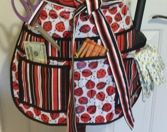 Laminated Utility, Garden, half Apron, Sturdy, 8 pockets, Vendors, Sewing, Crafts, ladybug pattern, red black strips