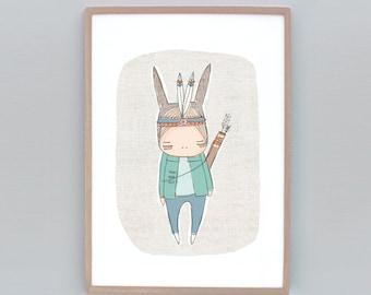 Childrens Wall Art print, Warrior Art, Boy Warrior, Indian Warrior Bunny, Feathers, Warrior Bunny Boy  8x10 Children's Room