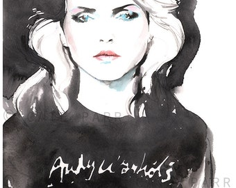 Blondie Print, Fashion Illustration, Fashion Print,  Watercolor Fashion Print, Blondie, Debbie Harry, Fashion Poster, Rock n Roll Art, Bad