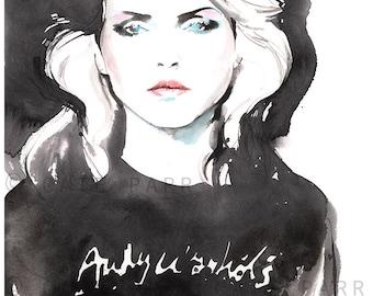 Blondie Print, Fashion Illustration, Fashion Print,  Watercolor Fashion Print, Blondie, Debbie Harry, Fashion Poster, Rock n Roll Art, Bad