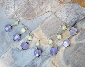 Jade and Prehnite Necklace, Lavender Necklace, Natural Stone Necklace, Statement Necklace, Bib Necklace, Purple and Green Necklace, For Her