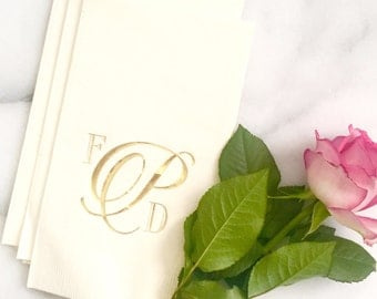 Foil Wedding Guest Towel Napkins - Prim and Proper Monogram Custom Printed Napkins - for Weddings and More by Abigail Christine Design