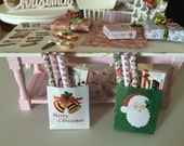 Filled CHRISTMAS GIFT BAG - Choose a Scale 1:6 or 1/12 Scale Dollhouse Miniature