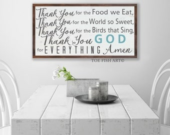 Thank You for the Food We Eat  Blessing Sign