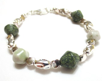 Jade Bracelet, Green and White Peace Jasper, Green Jade Beads, Small Silver Bracelet, Bicone Beads, Silver Plated Beaded Bracelet