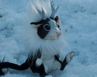 Kirin, black, white and silver, Chinese unicorn, themed fantasy art doll
