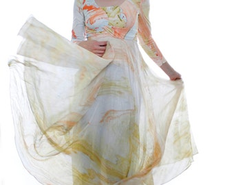 Vintage 60's evening gown, pastel paint swirl / Jupiter gas clouds, maxi dress, sheer skirt, made in Spain, mod, psychedelic - Small