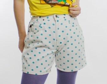 "Vintage 80's high waist white denim shorts, Chic brand, turquoise polka dots - Small 26"" waist"