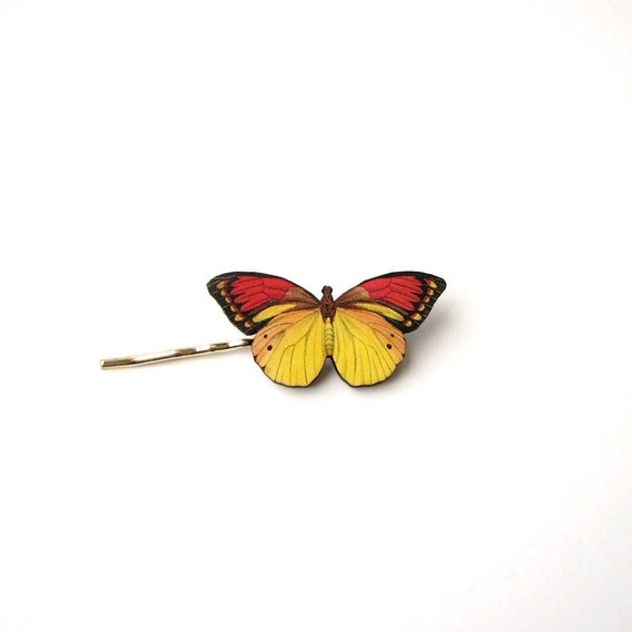 yellow & red butterfly hairpin bobby pin