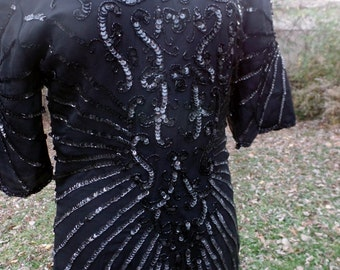 Vintage 1980's Black Sequence Dress Holiday Party Ready