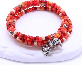 Southwest Colors Memory Wire Bracelet - Coral Red Czech Glass Seed Beads, Antique Silver Cactus Flower Beads, Choice of Southwestern Charms