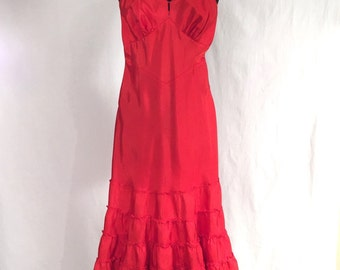 Taffeta Dress / Slip Vintage 1950's...  Lipstick Red / Oh So Sexy
