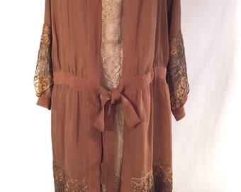Cafe au Lait / 1920s Wedding Ensemble / Dress and Coat
