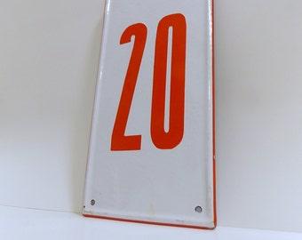 Vintage Porcelain Enamel Street Number Sign / Number Sign / Number 20/ #20 / House Number Sign / French Enamel / White and Red