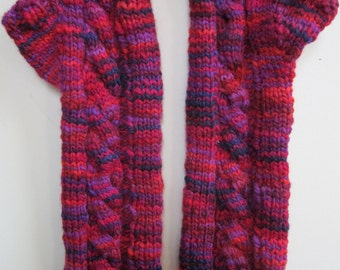 Fingerless Gloves Texting Mitts Long Cabled Wool Knit Red Purple Variegated Ladies  - Size Medium