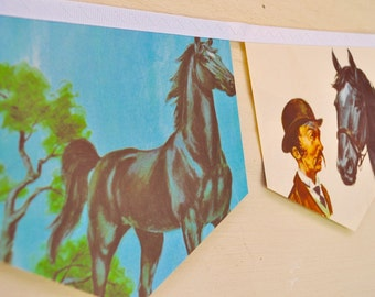 BLACK BEAUTY Banner Horse Vintage Little Golden Book Repurposed storybook Bunting Banner Children birthday party decoration pony club