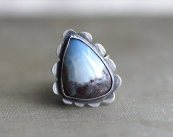 Large Blue Opal in Sterling Silver - Antique Finish - Chunky Statement Ring - Fits Size 7.5 - 8