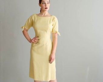 1950s Linen Dress - Vintage 50s Wiggle Dress - Anne Fogarty Dress