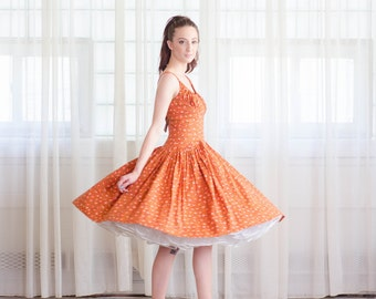 1950s Party Dress - Vintage 50s Summer Dress - Late August Dress