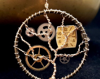 Golden Time Tree steampunk wire wrapped pendant