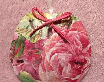 Sand Dollar Ornament  - Roses & Rosebuds