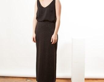 Glitter Black Skirt / Midi Metallic Skirt / Party Holiday Skirt
