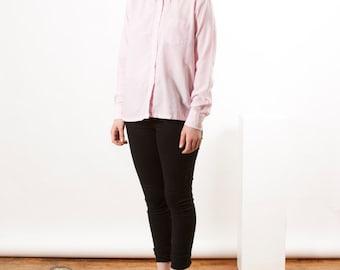 ON SALE Light Pink Oxford Shirt / ladies Dress Shirt / Summer Long Sleeve Shirt