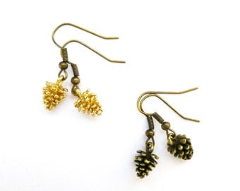 Pine Cone Earrings Pinecone Jewelry Gold Charm Brown Autumn Fall Nature Rustic Woodland Wedding Accessories Bridesmaids Womens Gift For Her