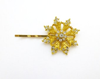 Christmas Hair Clip Snowflake Bobby Pin Nature Gold Snow Flake Frozen Winter Christmas Holiday Girls Accessories Unique Womens Gift For Her