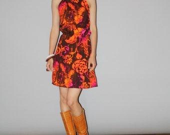 1960s  Floral Orange Hawaiian Mod Mini Graphic Tropical  Summer Sundress Dress   - 60s Hawaiian Dress - WD0868