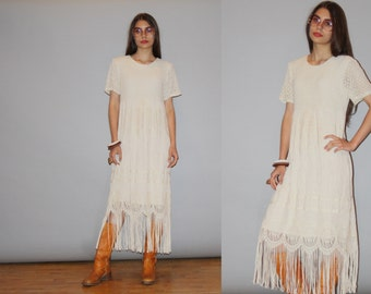 1990s Ivory Crochet Lace Fringe Boho Bohemian Hippie Alternative Wedding Festival Dress  -  Fringe Dress -  Hippie Wedding Dress  - WD0837