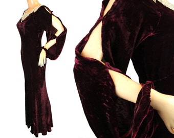 SOLD 1930s Dress Silk Velvet. DRAMATIC Bishop Sleeves. Art Deco Bias Cut Old Hollywood gown. CLARET. Sleeve Slits. Draped Rhinestone col