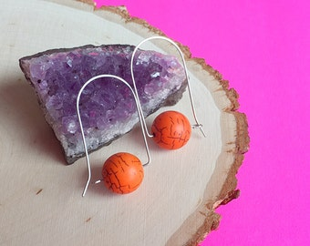 Modern orange stone hoop earrings, tangerine mod stone hoops