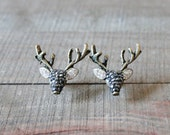 Swarovski Crystal Brass Reindeer Stud Earrings/ Brass Deer Stud Posts/ Animal Reindeer Deer Elk Doe/ Brass Swarovski Statement Earrings