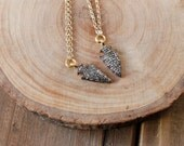 Small Diamond Arrowhead Necklace/ Bohemian Sparkle Diamond/ Girl's Best Friend/ Precious Stone/ Gold Gunmetal Arrowhead Gemstone (NDG15)