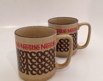 Vintage Nestle Mug Set   Rich and Creamy Hot Cocoa set of 2 Mugs