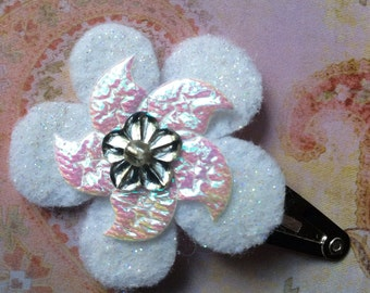 Felt Hair Clips-Glittery Flowers-Girl's Hair