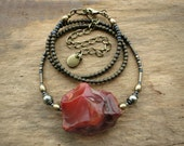 Rough Red Carnelian Necklace, rustic raw stone Bohemian tribal necklace, handmade natural ornage stone crystal jewelry