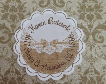 Burlap and Lace Round Address Labels