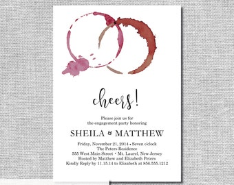Wine Tasting Invitation - Red Wine Stain - Wine and Cheese - Personalized Printable File or Print Package Available 00060WR-PIA7PO