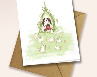 A little girl and her pet bunnies - blank greeting card