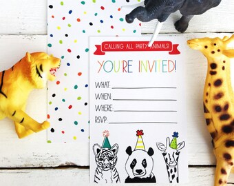 Zoo Party Animals Invitation - Digital Download