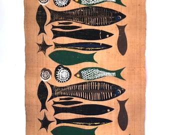 HUGE Ken Scott a FISH is a  FISH Screen Printed Grasscloth 1951 6 Feet Long Tiki