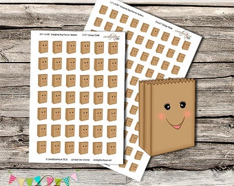 Shopping Bag Planner Stickers - Printable - Digital File - INSTANT DOWNLOAD - Erin Condren - Filofax - Mambi Happy Planner